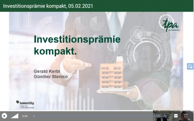 TPA Webcaast Investitionsrämie Update - TPA Steuerberater Günther Stenico && Gerald Kerbl