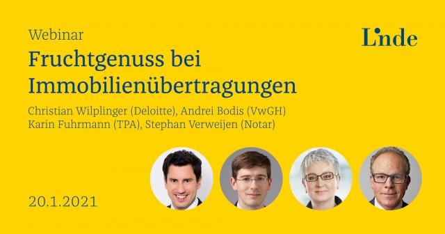 Linde Webinar 2021: Fruchtgenuss bei Immobilienübertragung mit TPA Expertin Karin Fuhrmann, Steuerberatung Wien