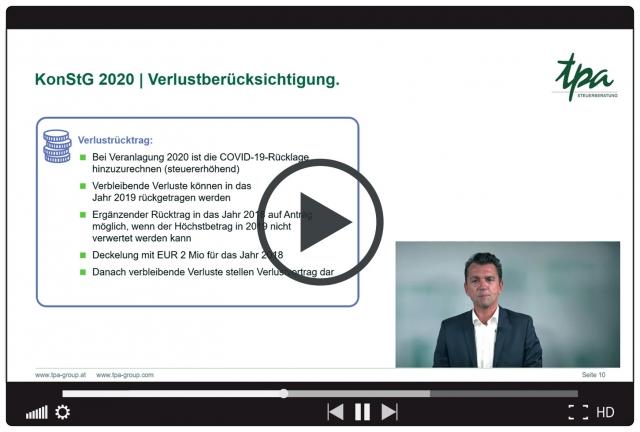 TPA webcast: Konjunkturstärkungsgesetz 2020 - Abschreibungen, Verlustrücktrag, aktuelle Maßnahmen der Regierung.
