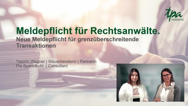 TPA Webcast: Meldepflicht für Rechtsanwälte - DAC6