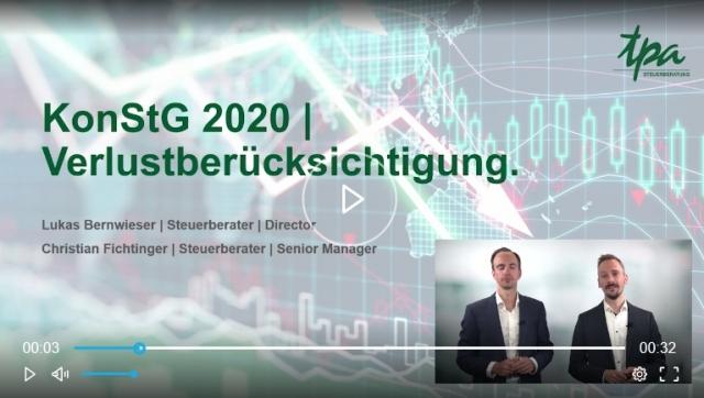 TPA Webcast: KonStG 2020 Verlustrücktrag - Lukas Bernwieser & Christian Fichtinger - TPA Steuerberatung